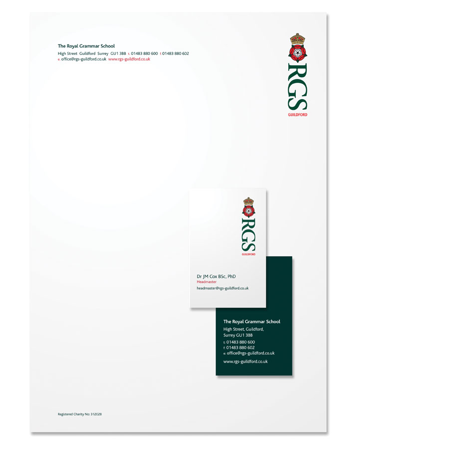 RGS Guildford identity and stationery by The Agency for Education