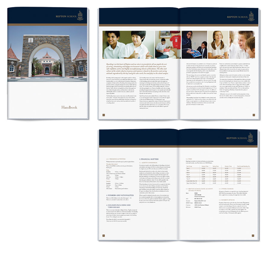 School Handbook Design for Repton School Dubai by The Agency for Education