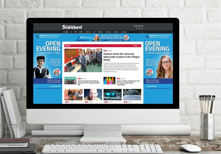 Online Banner advertising for North Bromsgrove school by The Agency for Education